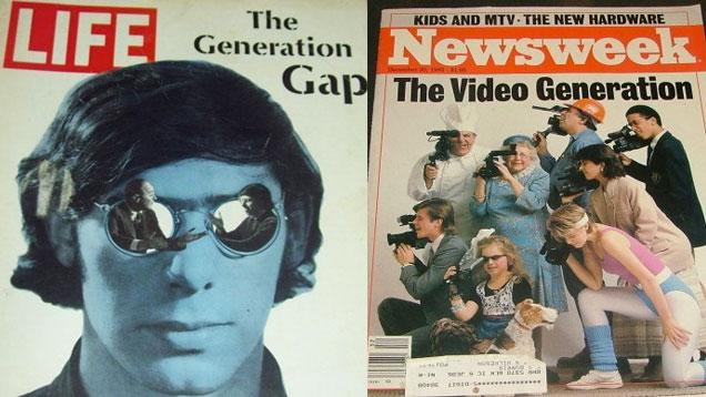 """paru dans the Wire, couverture du Newweek de 1985, couverture de  Life en 1968 """"the generation GAP"""""""
